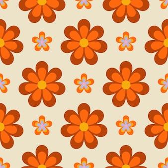 70年代スタイルの花とレトロなシームレスパターン