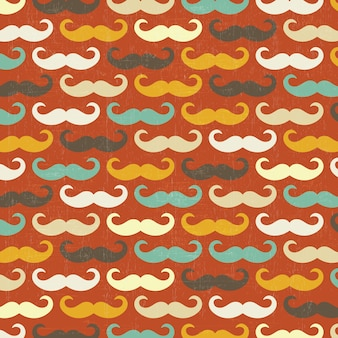 콧수염과 레트로 완벽 한 패턴 프리미엄 벡터
