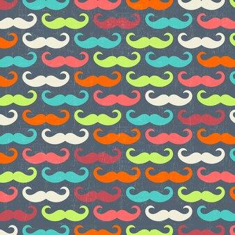 콧수염과 레트로 완벽 한 패턴