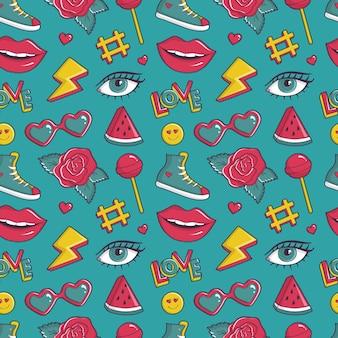 パッチバッジ付きのレトロなシームレスパターン。 80〜90年代のコミックスタイルの流行の背景。