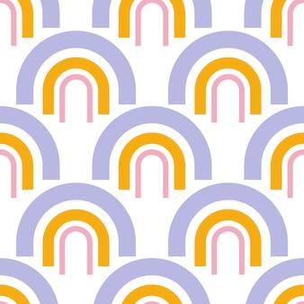 虹の飾りとレトロなシームレスパターン