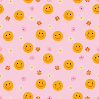 笑顔でレトロなシームレスパターン