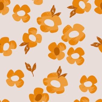 春の花とレトロなシームレスパターン
