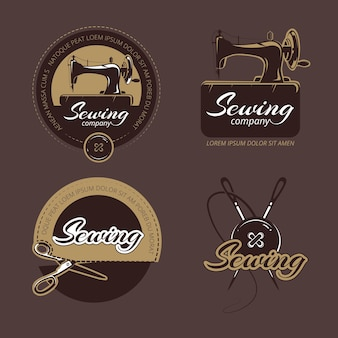 Retro sewing and tailoring logo, labels and badges set.