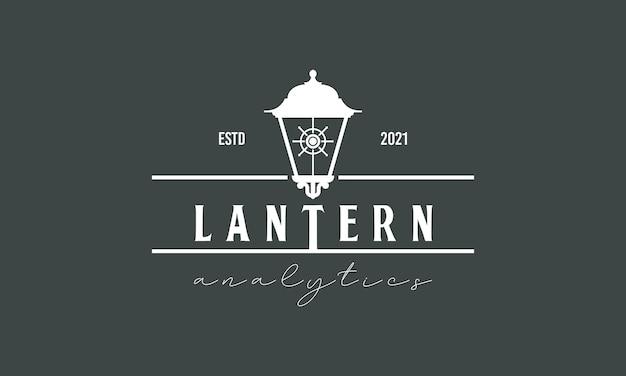 레트로 빛나는 랜턴 로고 디자인