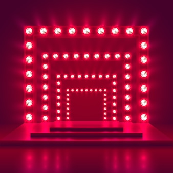 Retro show stage with light frame decoration. game winner casino vector background. illuminated of shine casino podium illustration