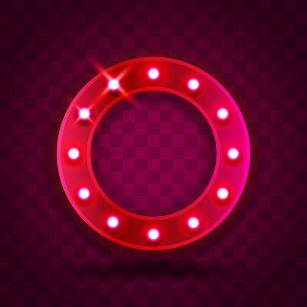 Retro show time circle frame signs realistic illustration. pink red circle frame with electric bulbs for performance, cinema, entertainment, casino, circus. transparent background