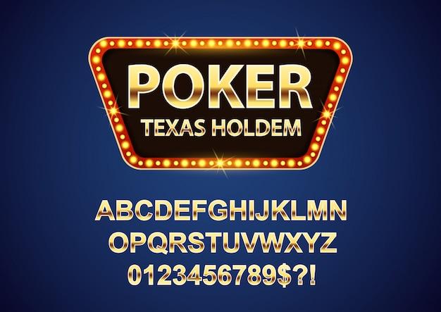 Ретро вывески казино покер с золотыми буквами алфавита