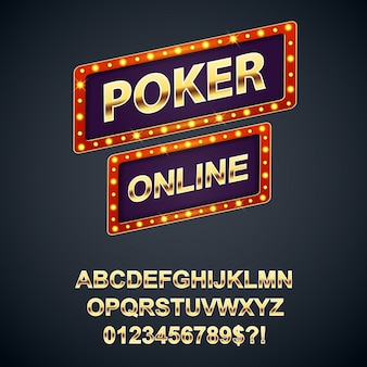 Retro sign boards poker online with gold alphabet letters and numbers