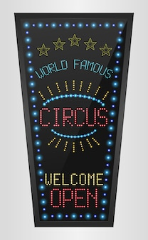 Retro sign with blue lights and the word circus