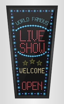 Retro sign with blue lights and the word live show