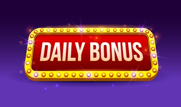 Retro sign with lamp daily bonus banner, poker, playing cards, slots and roulette, game, ui, banner