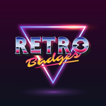 Retro sign with neon triangle