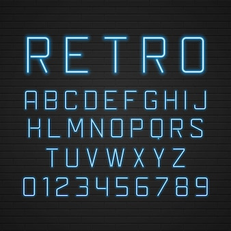 Retro signboard alphabet letters with light neon lamps elements set.