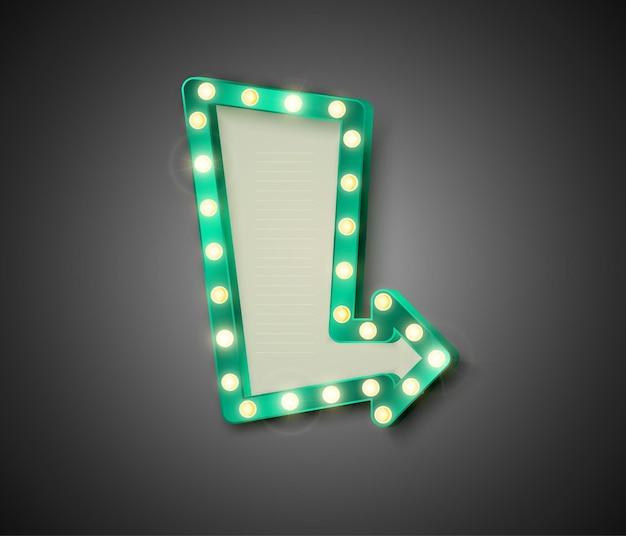 光沢のあるライトのイラストとレトロな看板