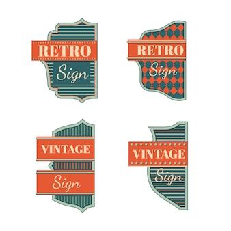 Ретро знаки и старинные неоновые вывески красочная коллекция
