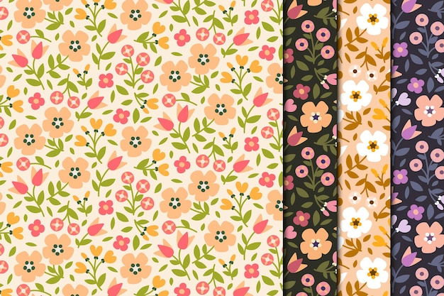 Retro simple floral seamless pattern