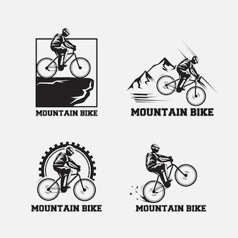 레트로 간단한 산악 자전거 로고