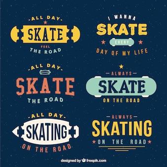 Retro skate badges set