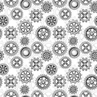 Retro sketch mechanical gears seamless pattern.