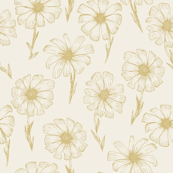Retro sketchy seamless pattern with yellow outline chamomile flowers
