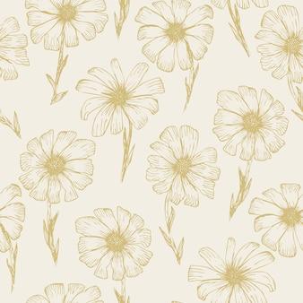 黄色の輪郭のカモミールの花とレトロな大ざっぱなシームレスパターン