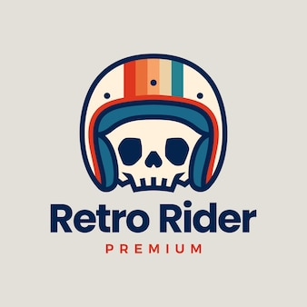 Retro skull helmet rider motorcycle club logo   icon illustration