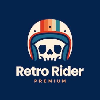 Ретро череп шлем райдер логотип мотоциклетного клуба