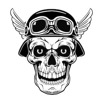 Retro teschio in casco con ali illustrazione vettoriale. testa di soldato morta vintage
