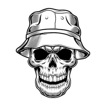パナマのベクトル図のレトロな頭蓋骨。帽子をかぶった観光客の黒い死んだ頭。ハワイと熱帯の休暇の概念を使用することができます