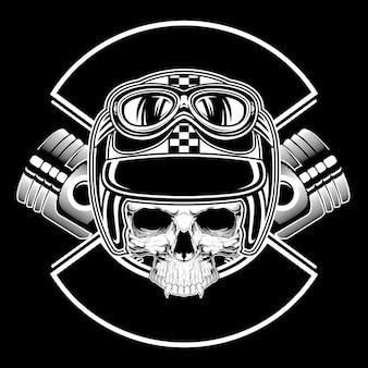 Retro skull wearing helmet hand drawing vector
