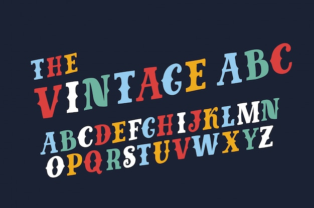 Of retro slanted font and alphabet