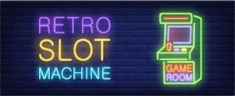 Retro slot machine neon style banner on brick background. Arcade machine with lettering.