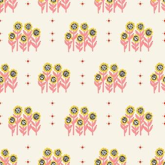 レトロな小さなひまわりの花のイラストシームレスな繰り返しパターンデジタルアートワーク