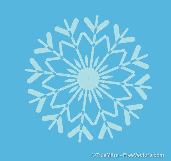 Retro snowflake shape on blue background