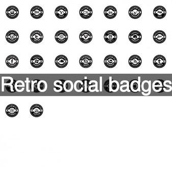 Retro social badges icons