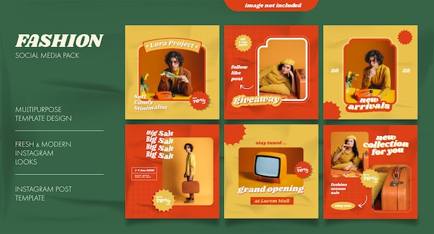 Retro social media feed post template for fashion business