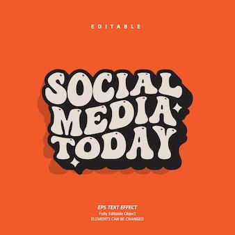 Ретро социальные сети сегодня публикуют заголовок отличный текстовый эффект, редактируемый премиум векторы
