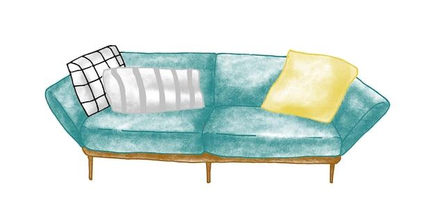 레트로 소파 손으로 그린 벡터 일러스트 레이 션. 방 가구, 홈 인테리어 아이템. 푹신한 의자, 쿠션 그림이 있는 소파. 가구 조각. 빈티지 소파 흰색 배경에 고립입니다.