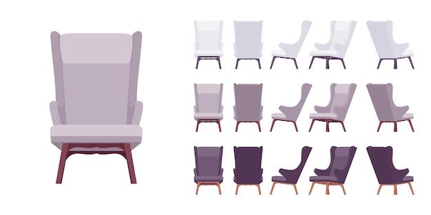 Retro soft armchair set