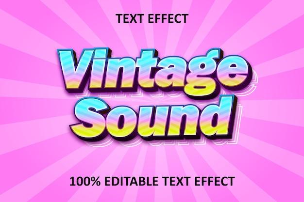 레트로 사운드 텍스트 편집 가능한 텍스트 효과 레인보우 핑크