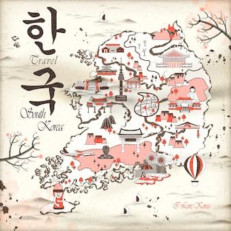 레트로 한국 여행지도 디자인 - 왼쪽 상단의 한국어 단어로 된 한국