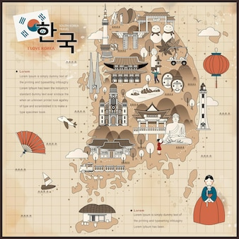 평면 스타일의 복고풍 한국 여행지도 - 왼쪽 상단의 한국어 단어로 된 한국