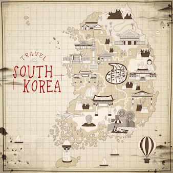 평면 스타일의 레트로 한국 여행지도