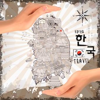 레트로 한국 여행지도 - 오른쪽에 한국어 단어로 된 한국