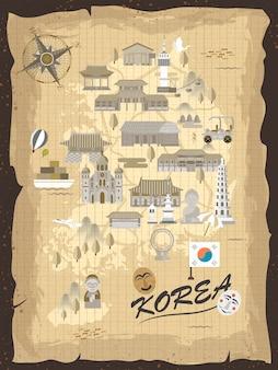 메모지에 레트로 한국 여행지도