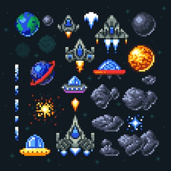 Retro space arcade game pixel elements.