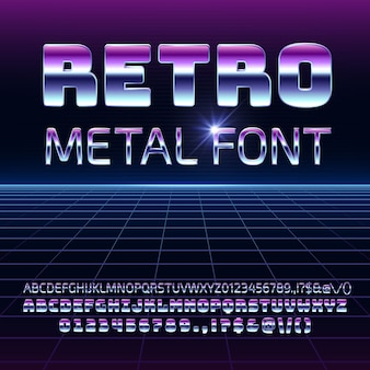 Retro space metal vector font. metallica futuristic chrome letters and numbers in 80s vintage style.