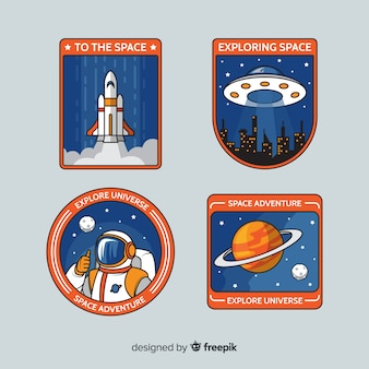 Retro space stickers pack