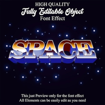 Retro space text style editable font effect